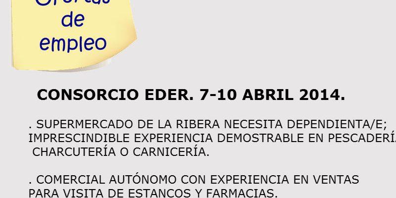 Ofertas de empleo en la Ribera de Navarra (7-10 abril 2014). Consorcio EDER