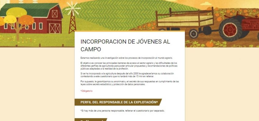 Investigación sobre incorporación de Jóvenes al campo en España.