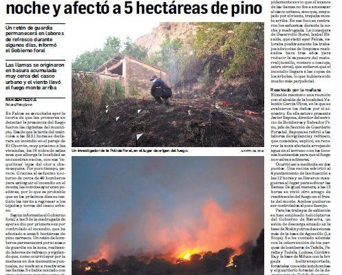 Extinguido el incendio en Falces