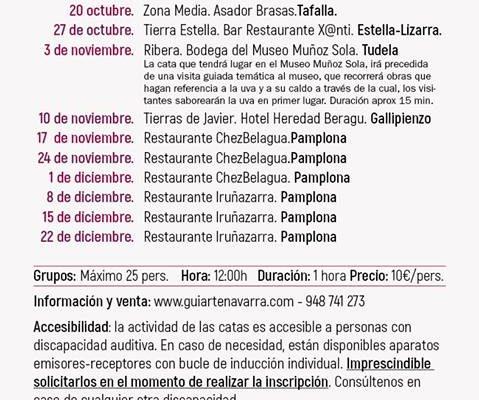 SÁBADO 3 DE NOVIEMBRE A LAS 12:00 HORAS CATA DE VINO D.O. NAVARRA EN LA BODEGA DEL MUSEO MUÑOZ SOLA DE TUDELA